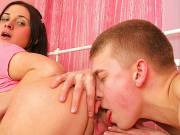 Teen Susanna is fingered and sucks his cock